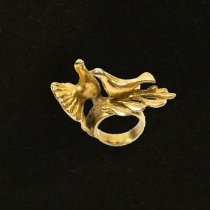 Jewelry - Sterling Silver Dipped in Brass Love Bird Ring
